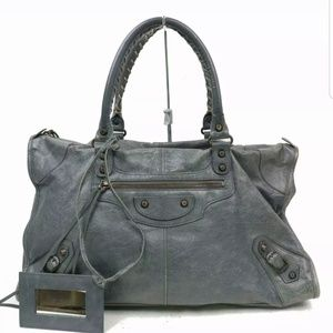 BALENCIAGA gray city Motocross Satchel bag 990980